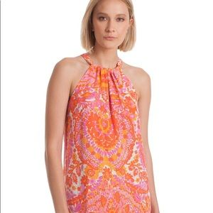 Trina Turk Orange Pink Rancho Halter Dress S/M
